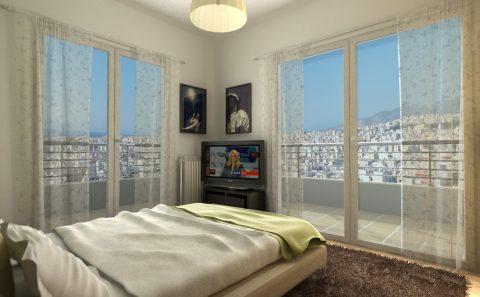 Θέα από το υπνοδωμάτιο εικονική αναπαράσταση για προσέλκυση πελατών