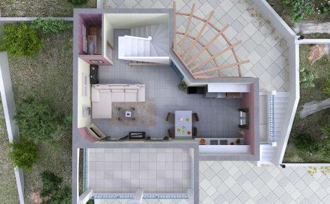 Σπίτι χωρίς σκεπή εικονική αναπαράσταση