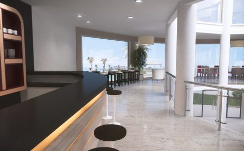 Μπαρ καφετέρια ξενοδοχείου τρισδιάστατη φωτορεαλιστική απόδοση