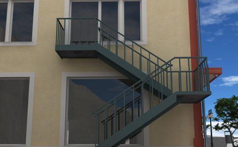 Εφεδρική μεταλλική σκάλα τρισδιάστατη εικόνα