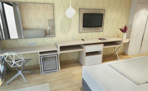 Επίπλωση ξενοδοχειακού δωματίου γραφείο μίνι μπαρ έπιπλο tv