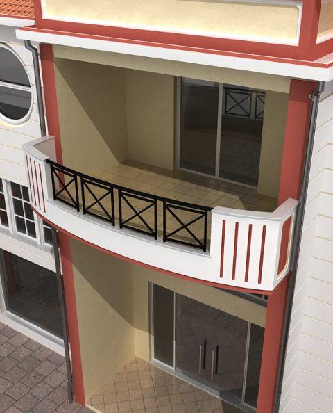 Μπαλκόνια γραφείων εμπορικό κέντρο Σάμου 3d σχέδιο