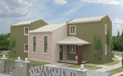 Ελληνικό σπίτι τρισδιάστατο σχέδιο
