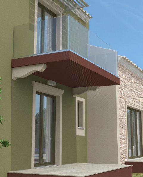 Τρισδιάστατο σπίτι γυάλινο μπαλκόνι αναριχομενα