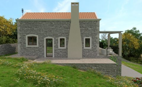 Πλάγια όψη πέτρινης κατοικίας 3d