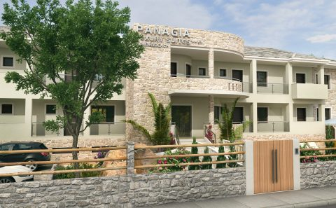 Πετροκτιστο παραδοσιακό ξενοδοχείο στη Θάσο φωτορεαλισμος