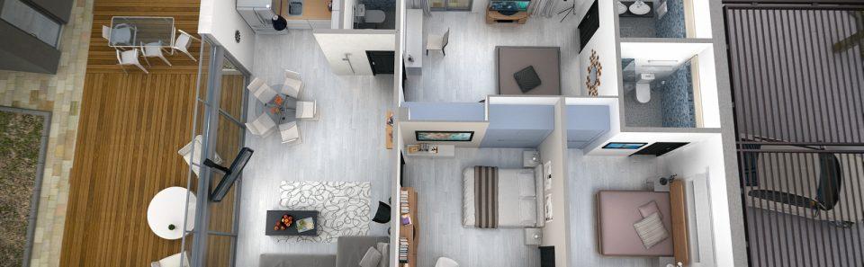 Τρισδιάστατη κάτοψη μοντέρνας κατοικίας