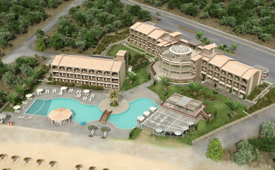 Λήψη από ψηλά ξενοδοχείο διαμόρφωση παραλία τρισδιάστατη μελλοντική σύνθεση