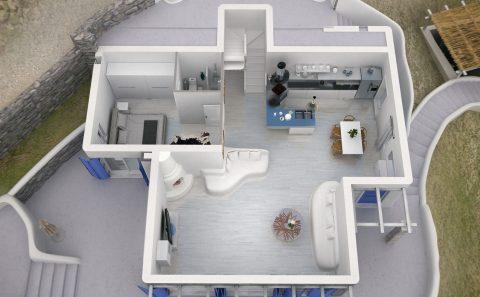 Ισόγειο κατοικίας τρισδιάστατα σχεδιασμένο