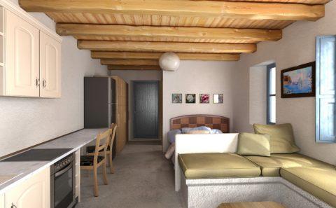 Ξύλινο ταβάνι με μασίφ δοκάρια τρισδιάστατη απεικόνιση