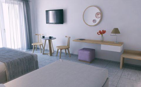 Μινιμαλ διακόσμηση ξενοδοχείου σε φωτορεαλιστική εικόνα
