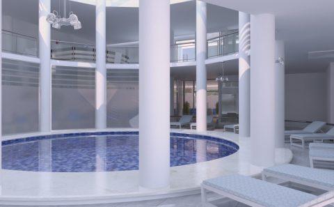 Κυκλική εσωτερική πισίνα ξενοδοχείακης μονάδας στην Θάσο