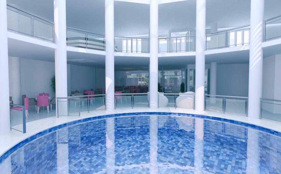 Εξωτερική στρογγυλή πισίνα ξενοδοχείου τρισδιάστατη φωτορεαλιστική εικόνα