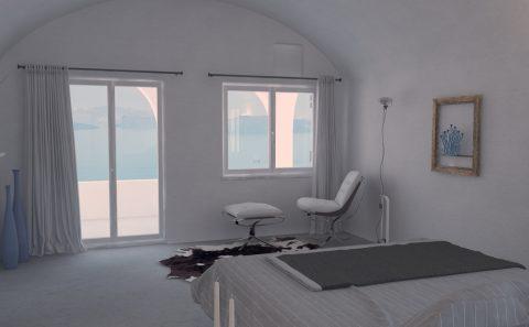 Εσωτερικό ενοικίαζομενων δωματίων στη Σαντορίνη τρισδιάστατη εικόνα