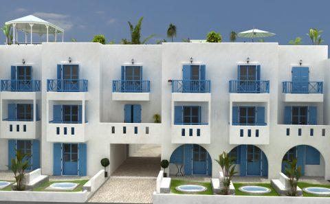 Εικονική αναπαράσταση παραδοσιακού νησιώτικου ξενοδοχείου
