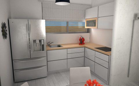Μοντέρνο σχέδιο κουζίνας με διπλό ψυγείο