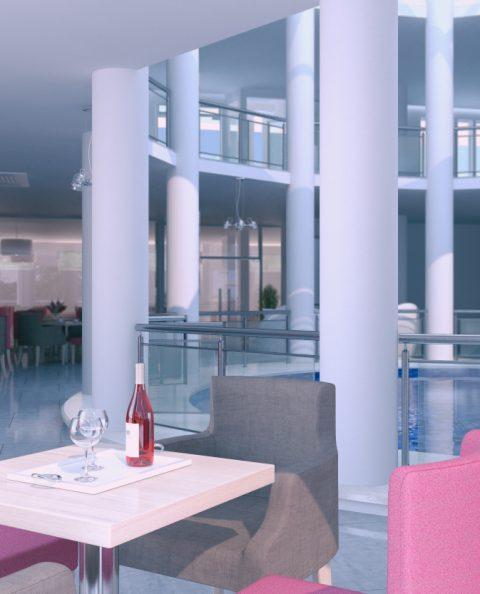Εσωτερικό εστιατόριο φωτορεαλιστικο 3d