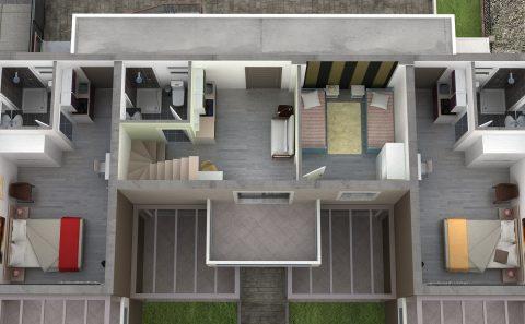 Συνολική 3d εικόνα εσωτερικού κτιρίου