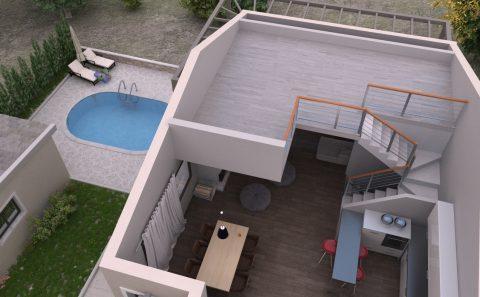 Κατοικία χωρίς την σκεπή της τρισδιάστατη μελέτη κτιρίου