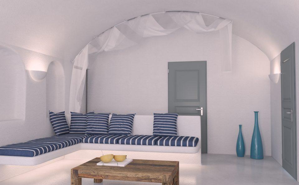 Εσωτερικό τουριστικού δωματίου στη Σαντορίνη