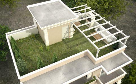 Πράσινη ταράτσα πολυκατοικίας φωτορεαλιστικο