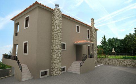 Πίσω όψη σπιτιού πέτρινη καπνοδοχος 3d