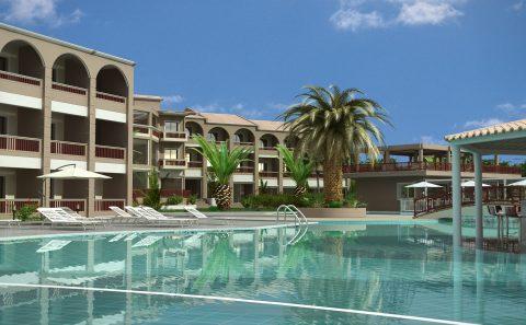 Εξωτερική πισίνα ξενοδοχείου τρισδιάστατο σχέδιο