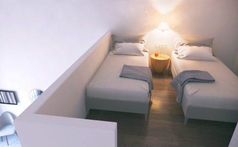 Δύο μονά ξενοδοχείακα κρεβάτια εικονική αναπαράσταση