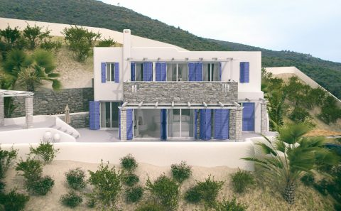Τρισδιάστατη όψη παραδοσιακού νησιώτικου σπιτιού
