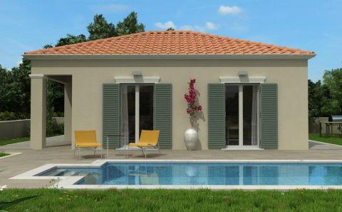Τρισδιάστατη όψη μονοκατοικίας με πισίνα