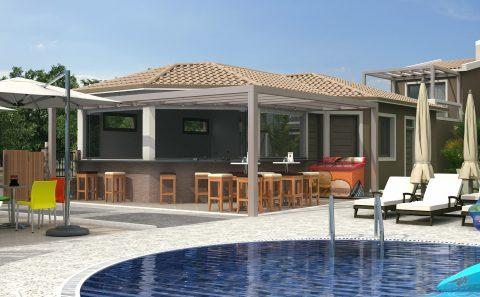 Σχεδιασμένη εικόνα πισίνας και μπαρ παραλιακού ξενώνα