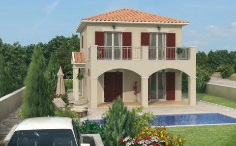 Μονοκατοικία με καμαρες και πισίνα 3d σχέδιο