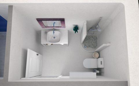 Τρισδιάστατη κάτοψη παραδοσιακής τουαλέτας