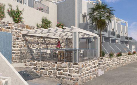 Πετροκτιστο τοιχίο παραδοσιακού ξενοδοχείου εικονική αναπαράσταση