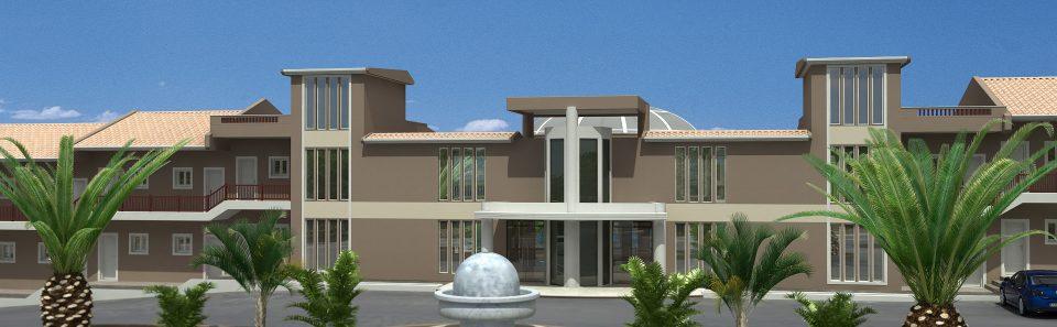 Είσοδος ξενοδοχείου διαμόρφωση χώρου 3d σχέδιο