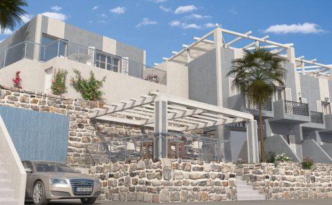 Ξενοδοχειακό συγκρότημα χαμηλή λήψη φωτορεαλιστικο