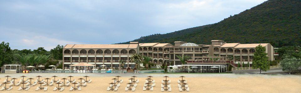 Ξενοδοχειακό στη παραλία λήψη από θάλασσα φωτορεαλιστική σύνθεση με τρισδιάστατο