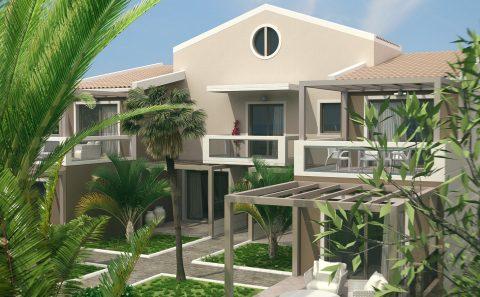 Μπαλκόνια μοντέρνου ξενώνα στη Θάσο του Παπαοικονομου