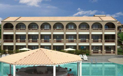 Συμπληρωματικη μονάδα ξενοδοχείου δίπλα στη πισίνα 3d