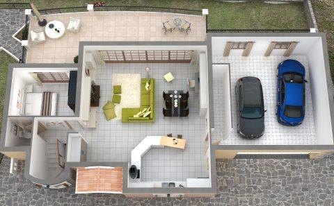 3d κάτοψη όλου του σπιτιού