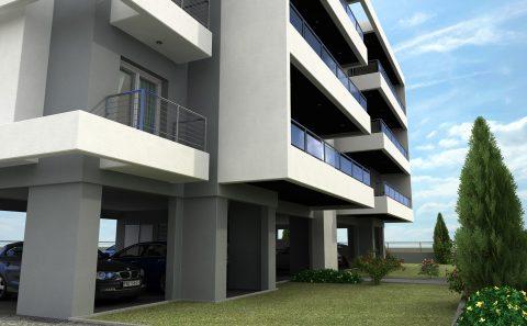 Πιλοτη μεγάλης πολυκατοικίας 3d σχέδιο