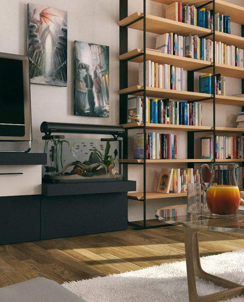 Ψηφιακή αναπαράσταση σαλονιού TV βιβλιοθήκη