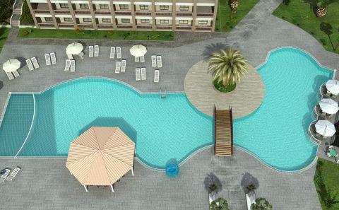 Πανοραμική άποψη μεγάλης πισίνας ξενοδοχείου τρισδιάστατη εικόνα