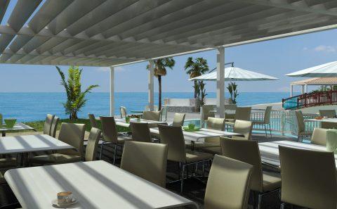 Παραλιακό εστιατόριο 3d εικόνα