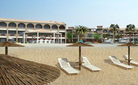 Παραλία με το ξενοδοχείο στο βάθος φωτοσύνθεση με τρισδιάστατα μοντέλα