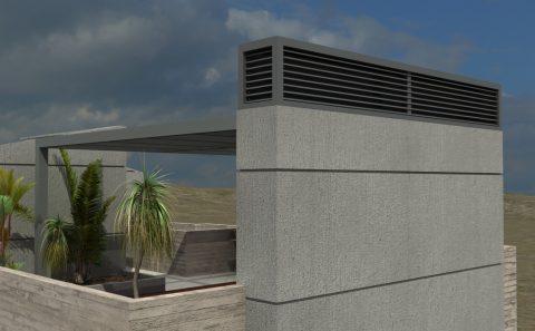Απόληξη καμινάδας τρισδιάστατα σχεδιασμένης οικοδομής