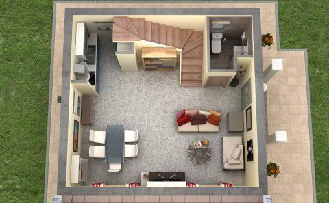 Ισόγειο κατοικίας 3d σχεδιασμένος