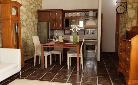 Ξύλινη κουζίνα πέτρινης κατοικίας