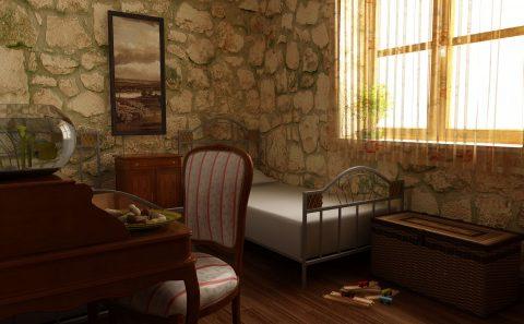 Υπνοδωμάτιο λιθοκτιστης μονοκατοικίας