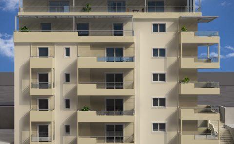Τρισδιάστατη όψη μεγάλης πολυκατοικίας